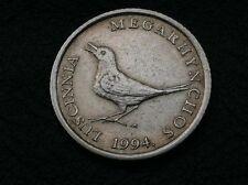 ERROR COIN -Croatia  1 kuna 1994 Error in the inscription LUSCINNIA (two NN) !!!