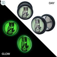 Pair of Glow in the Dark Owl Ear Plugs Fake Cheater Jewelry - 18 Gauge
