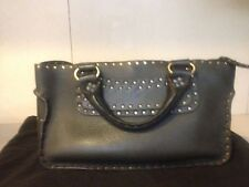 OMG CELINE HANDBAG BLACK PEBBLED LEATHER BOOGIE TOTE wSMALL BRONZE NAILHEADS EUC