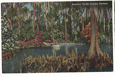 CYPRESS GARDENS in Florida USED POSTCARD Vintage FREE SHIP Boat on Lake LINEN