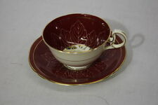 Vintage Aynsley Maroon Red & Gold Leaf Floral Pattern Cup & Saucer Set, England