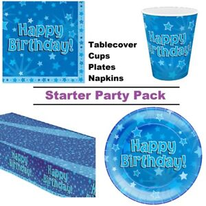 Happy Birthday Blue Star 8-48 Guest Starter Party Pack Cup Plate Napkin