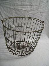 """Antique Primitive Large Metal Wire Farm Produce Collection Basket 15"""" Diameter"""