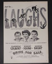 Original Print Ad 1949 Movie BRIDE FOR SALE Claudette Colbert Robert Young
