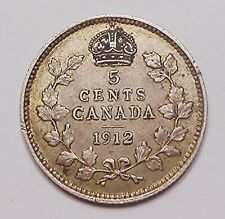 1912 Five Cents Silver EF ** HIGH Grade BETTER Date 2nd King George V Canada 5¢