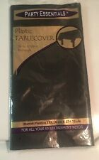 """Party Essentials Plastic Table Cover  64"""" X 108"""" - Black Original Package - New!"""