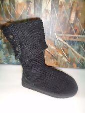 Ugg Black Lattice Cardi knit Long Sweater boots Authentic sz 5.5-6