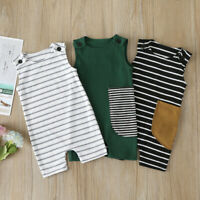 Newborn Toddler Kid Baby Girl Boy Sleeveless Rib Striped Jumpsuit Romper Clothes