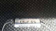 2x condensatore (1 COPPIA) MONACOR 1,5uf 250v amplificatori ARGENTO 13476