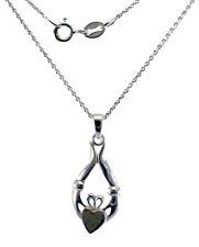 "Irish Claddagh Sterling Silver Pendant Connemara Marble 18"" Neck Chain LMELCL"