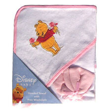 Hooded Towel & Washcloth Infant Baby Girls Pink Winnie the Pooh NEW