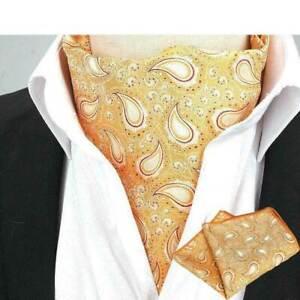 Men Classic Floral Paisley Cravat Ascot Necktie Handkerchief Pocket Square Set