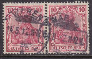 Germany Deutsches Reich 1905/13 Mi. Nr. 86Ia 10 Pf Germania Definitive Pair USED