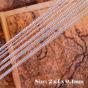 5m 925 Sterling Silver Colour Plated Oval Chain For Jewellery Making 002s