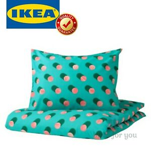 IKEA GRACIOS Duvet Cover and Pillowcase Dotted Pink Turquoise Twin
