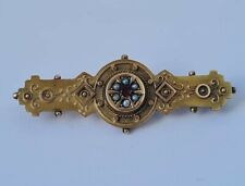 Pretty Antique 9 ct/ 375 Yellow Gold Garnet & Seed Pearls Brooch 1901/ L 4.3 cm
