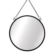 Sass & Belle Black Monochrome Round Metal Frame Mirror Chain Link 25m