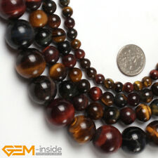 """Natural Gemstone Multicolor Tiger's Eye Loose Beads For Jewellery Making 15"""" AU"""
