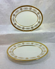 """Coalport Lady Anne Gold Encrusted Lot of 2 Oval Serving Platters 13 and 15"""""""