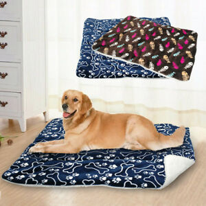 Warm Dog Cat Bed Mat Small to Large Dog Fleece Cushion Pet Crate Mattress Kennel