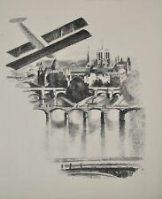 Robert DELAUNAY - lithographie originale - Les ponts de Paris et Notre Dame