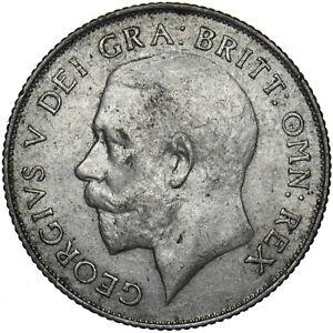 1923 SHILLING - GEORGE V BRITISH SILVER COIN - V NICE