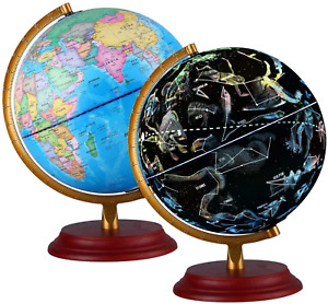 Illuminated World Globe for Kids With Wooden base Night View Stars Constellation