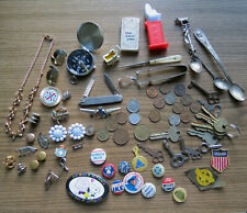 INTERESTING JUNK DRAWER LOT - Pinbacks Coins Keys Jewelry Spoons & Much More