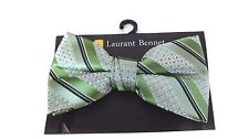 MENS BOW TIE POLKA DOT AND STRIPED GREEN PRE-TIED BOW WITH CLIP