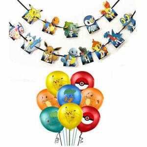POKEMON PIKACHU Latex Birthday Party Balloons Bunting Banner Garlands Decoration