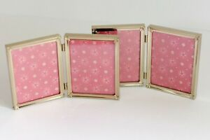 Vintage Metal Picture Frames Set of 2 GOLD Tone Double Frame 19780s 80s Retro