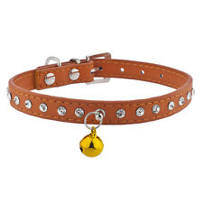 Lux Accessories Orange and Crystal Rhinestone Bell Pet Cat Dog Collar Necklace