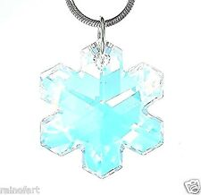 "Made With Swarovski Crystal AB Color Snowflake Pendant Necklace Gift 18"" Chain"