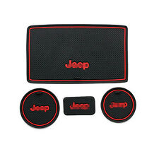 Non-Slip Interior Soft Rubber Door Panel Mats Cup Holder Pad For Jeep Wrangler