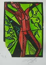"LYNN KEATING AUSTRALIAN INK LINOCUT ""RED FEMALE ATHLETIC"" LTD ED 2016"