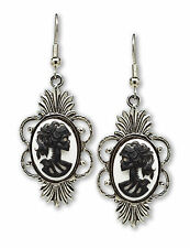 Gothic Lolita Skull Cameo Dangle Earrings Black on White #1014BW