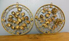 Vintage Hollywood Regency Wall Decor Round Gilded Flowers Set of 2