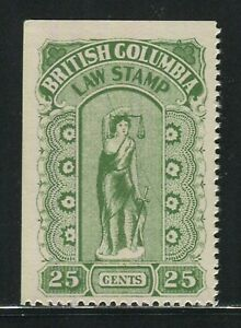 British Columbia #BCL23d Variety 1912-1926 25c Law Stamp 5th Series Hairy Leg NH