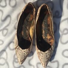 SAM EDELMAN Tan Cream Python Snake Print Studded Ballet Flats Shoes Sz 7 1/2 7.5