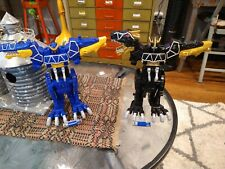 2 Power Rangers Dino Charge Black and Blue T rex Megazord with 2 Batteries