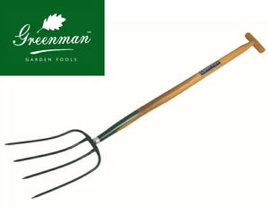 4 Prong Manure Fork High Quality Greenman Solid Forged Short Ash T Handle