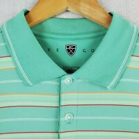 NIKE GOLF Size Large Polo Shirt Green Striped Vented DRI-FIT Mens Breathable