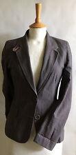 Ladies true vintage brown pinstripe blazer by All Saints 4/6 petite