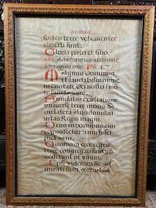 Antique Medieval Illuminated Manuscript Vellum Leaf Latin Gregorian Chant Gothic