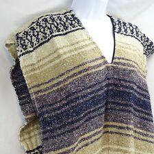 Women's Blanket Poncho Frank's Textiles Brown Blue Fringe Southwestern Mexican