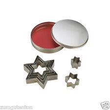 Ausstechformen 6 Sterne 2,5 - 8 cm mit Dose für  Modelliermasse oder Ton