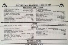 Boeing 707 Pilot's Normal Procedures Check List