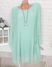 ITALY Kleid Plissee Elegant Langarm Chiffon Oversize Mint 38 40 42 44