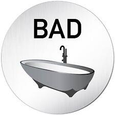 "Aluminium Schild 10 cm Ø ""Bad"" Türschild • Tür • Wand • Alu • Toilette • WC"