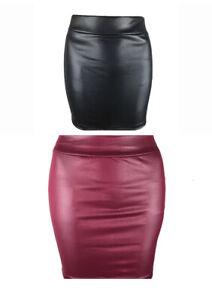 Sexy Stretch Black Burgundy Wetlook Mini Skirt Size 6 8 10 Wet Look Short Skirts